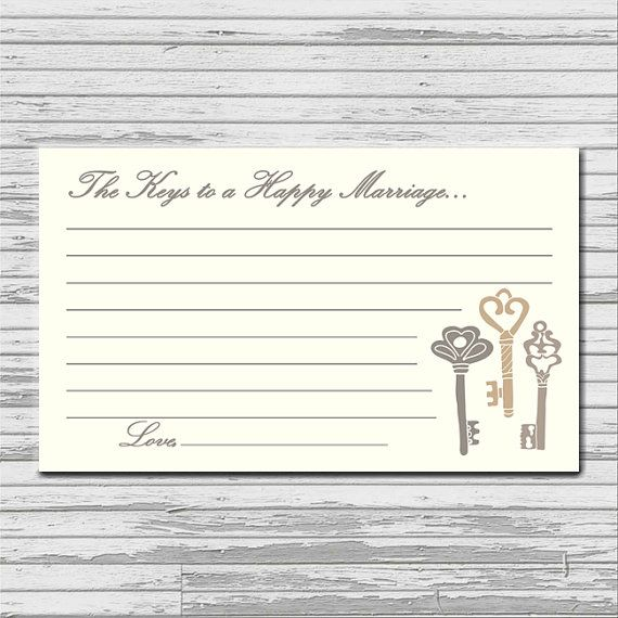 INSTANT DOWNLOAD The Keys to a Happy Marriage advice card - 3x5 printable download - keys rustic advice cards PDF bridal