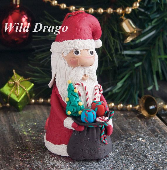 Santa Claus, Christmas tree toys, polymer clay, loop for hanging on the Christmas tree, height 10 cm