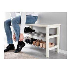 TJUSIG Bench with shoe storage, white - white - 81x50 cm - IKEA