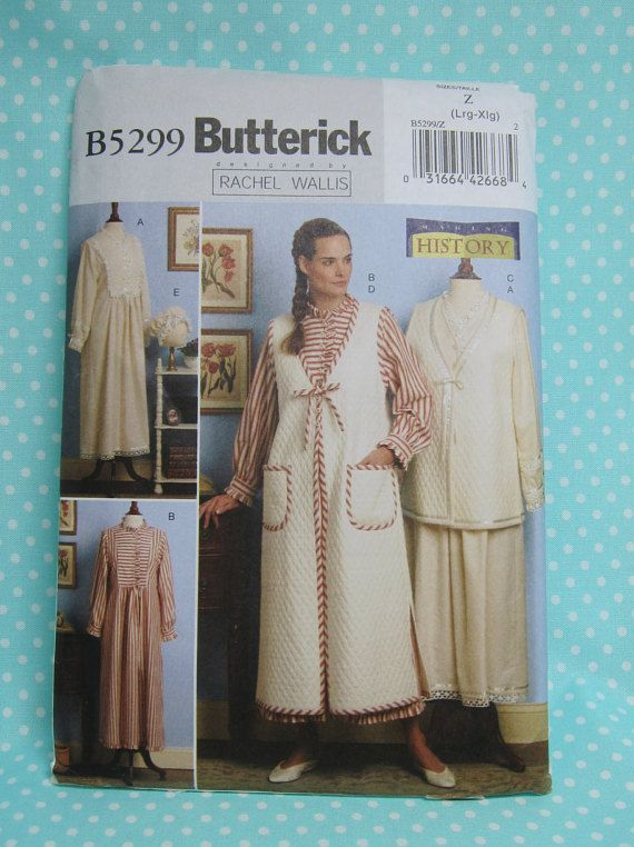 Victorian Nightgown Pattern. Cheapest Shipping. Butterick 5299. Sz:L-XL. Modest Nightgown Pattern, Robe, Vest, Cap Pattern. New, Uncut 1993