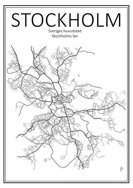 Poster - Stadskarta Stockholm 50x70 cm