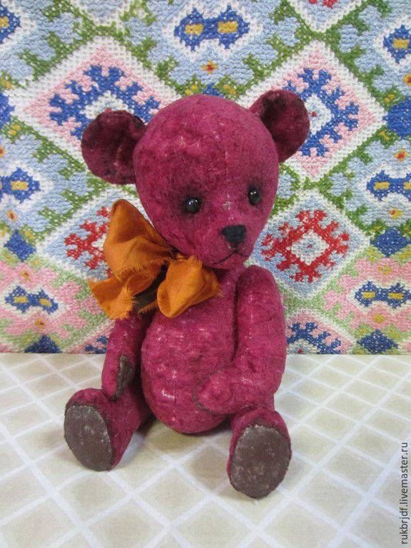Купить Бонни - бордовый, мишка тедди, мишка ручной работы, мишка, медведь, медвежонок