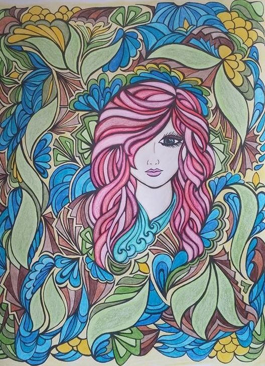 Colored by Nancy LeBlanc. From Fanciful Faces coloring book.