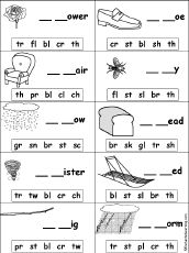 Missing Letters for blends and digraphs - many pages likes this