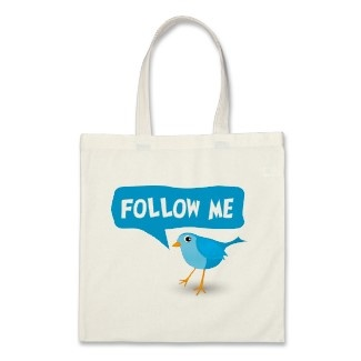 "This custom cool promotional budget tote bag features a cartoon vector illustration of a little blue bird with a caption that says ""Follow Me"". Use this bag to promote yourself on twitter to your friends at school, your colleges at work or take a photo with it and post it on your Twitter account, your Facebook account or any other social media, blog or other website. You can customize it by adding your own or your business twitter username to it."