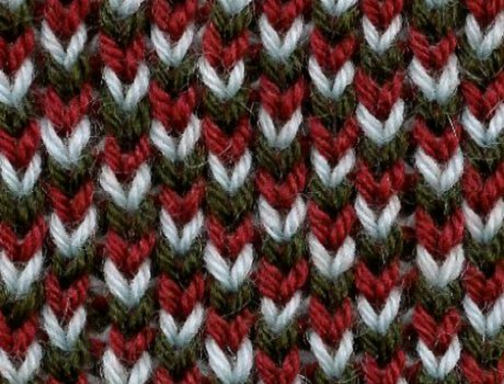 Stockinette Brioche knitting Stitch - all these 3 colors are obtained with colour change only each row