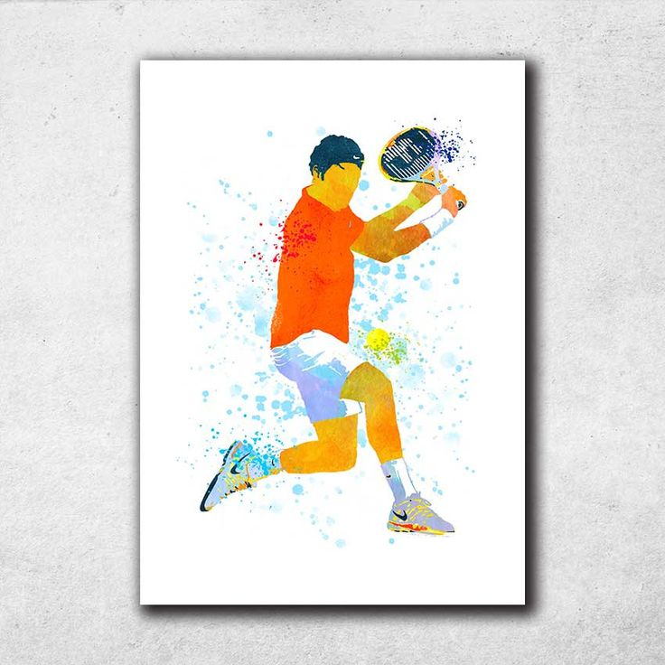 Roger Federer Poster, Tennis Print, Tennis Gifts, Federer all Art, Sports Decor, Watercolor Print, Home Decor (N034) by PointDot on Etsy