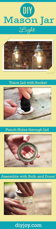 DIY Mason Jar Light Tutorial | Easy DIY Home Decor Ideas