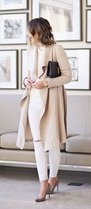 #fall #fashion / neutrals white legging, white tee, beige long sweater, nude pumps