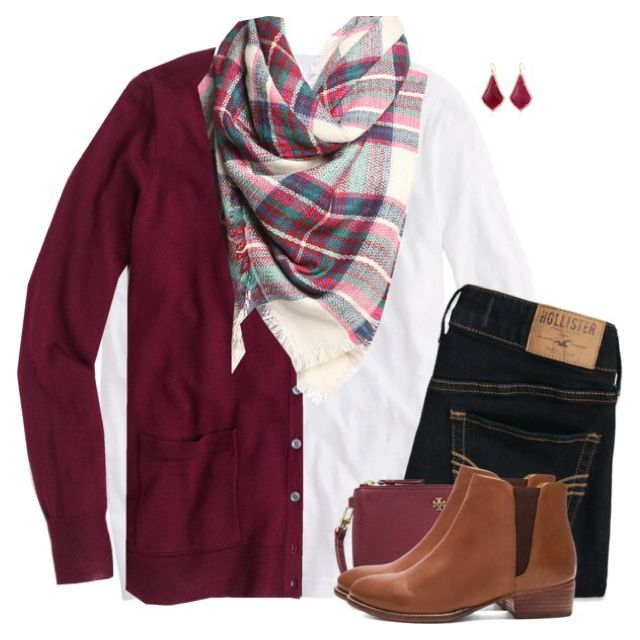 J.Crew cardigan sweater with plaid scarf & boots