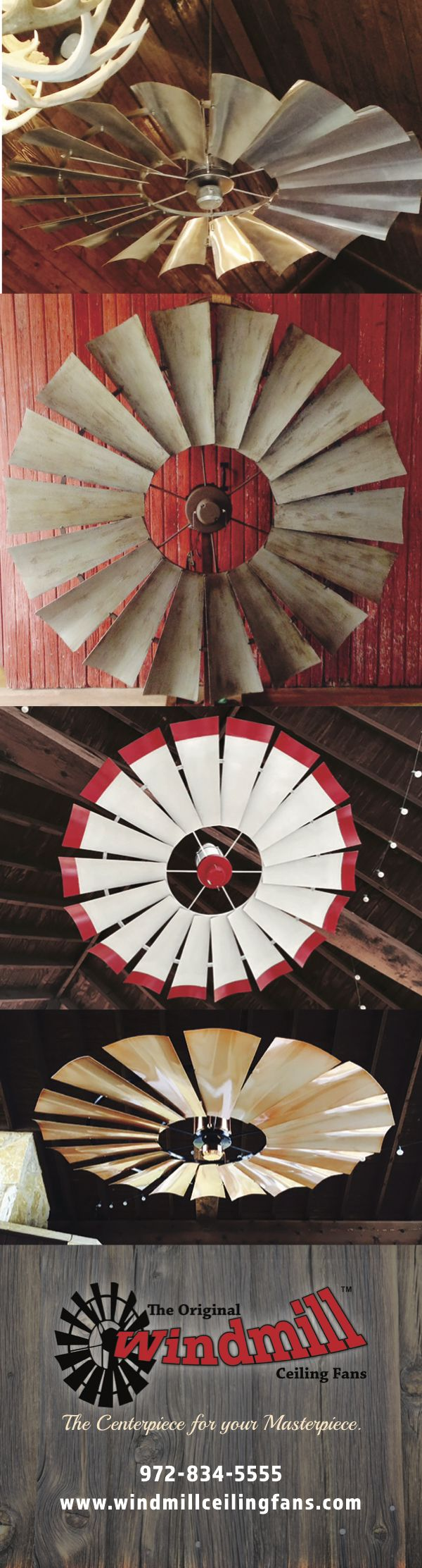 "Found it!  Woohooo Custom Windmill Ceiling Fans. Awesome!  54"" to 66"" diameter with custom finishes."
