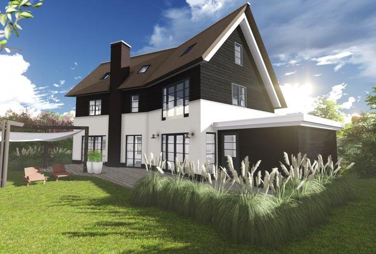 Een mooie eigentijdse, duurzame woning met gepotdekselde gevels, rieten kap en raamroeden.
