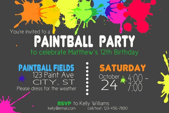 Paintball Party Birthday Invitation printable by fullerwords