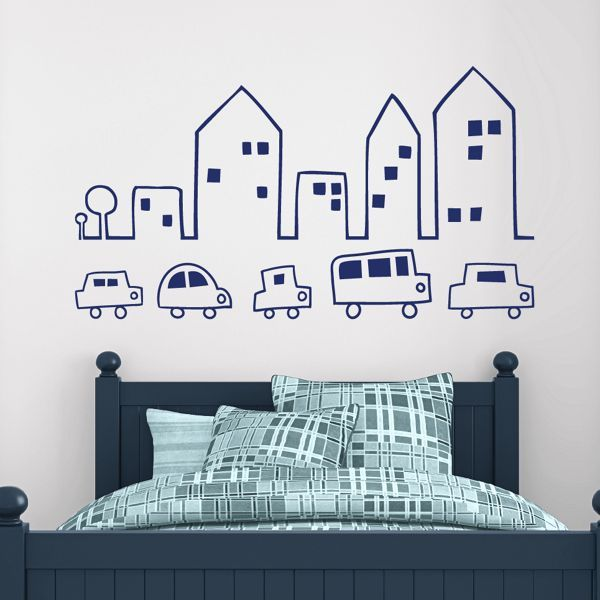 bustling little town wall decals stickers graphics