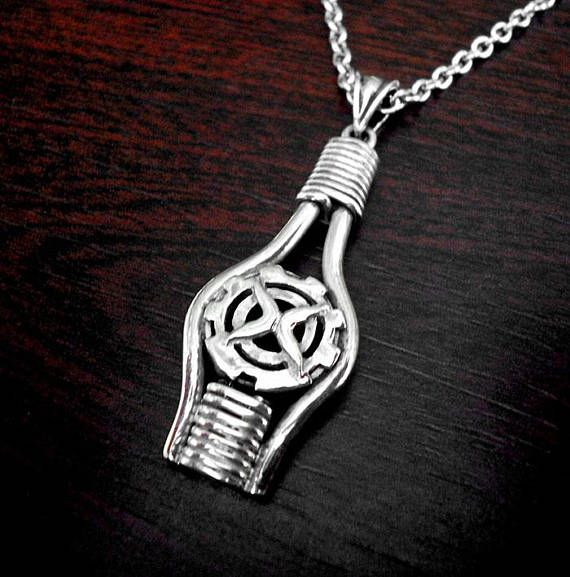 Mens silver necklacemens silver pendanttribal mens