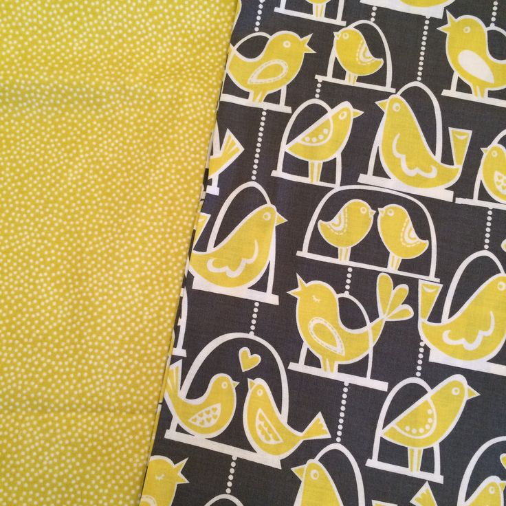 Super sweet birds on a swing! I picked these lovely yellow dots to go with it, both from Michael Miller.