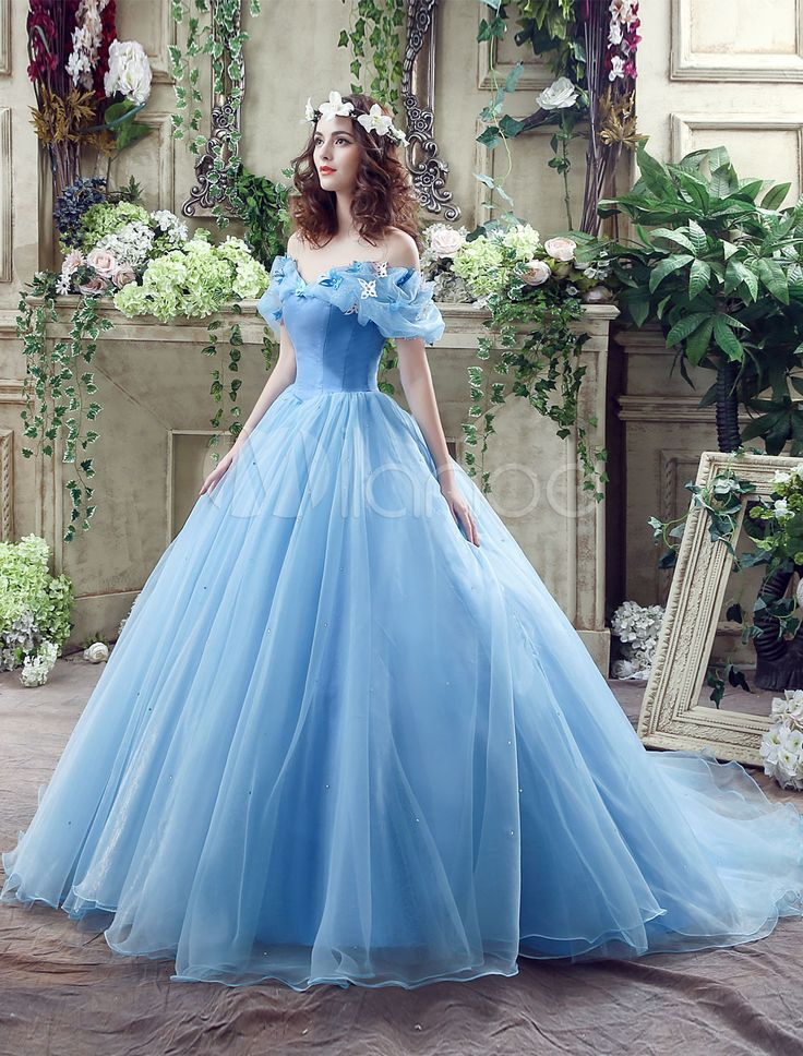 Cinderella Dress Blue Organza Tulle Off the Shoulder Ball Gown Dress with Chapel…