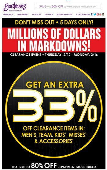In-store & online : Get an extra 33% #off clearance items.  Store : #Gordmans Scope: Entire Store Ends On: 02/16/15  Get more deals : http://www.geoqpons.com/Gordmans-printable-coupons Get our Android mobile App: https://play.google.com/store/apps/details?id=com.mm.views Get our iOS mobile App: https://itunes.apple.com/us/app/geoqpons-local-coupons-discounts/id397729759?mt=8