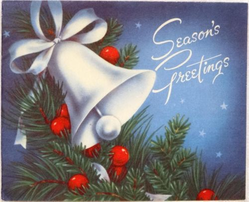 123 best christmas bells images on pinterest christmas bells 1118 40s white bell vintage christmas greeting card m4hsunfo