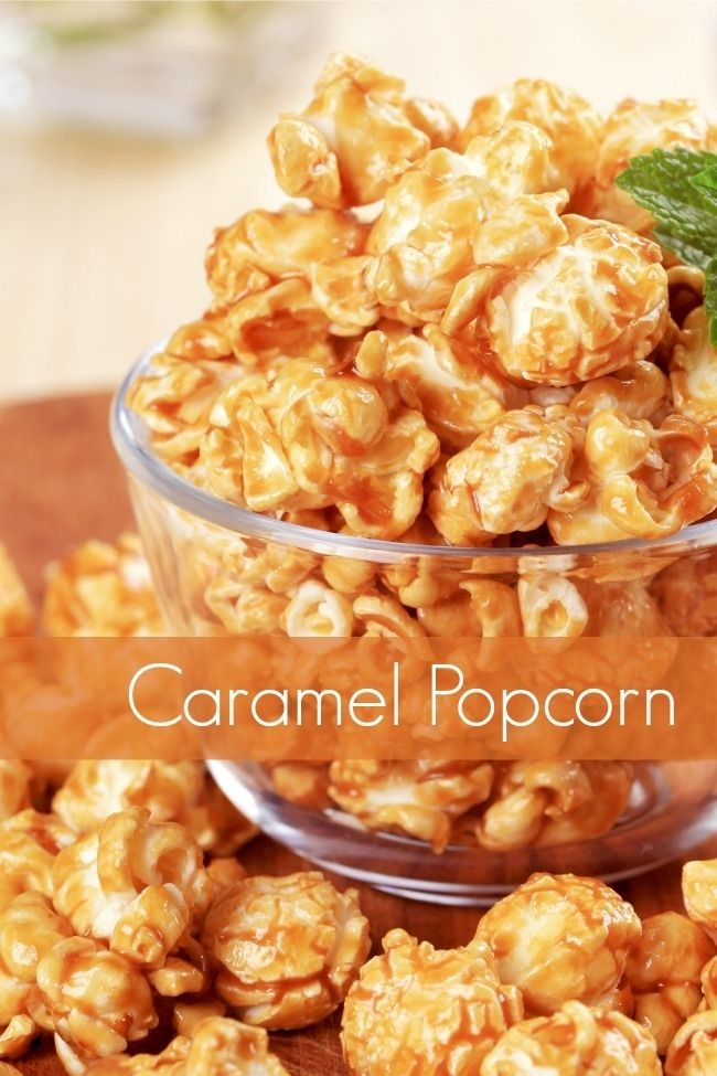 Caramel Popcorn...16 cups popped popcorn 1 cup butter 2 cups brown sugar ½ cup honey 1 teaspoon vanilla ¼ teaspoon salt ½ teaspoon baking soda Boil ingredients except for baking soda and popcorn to 250 and remove from heat. Mix in baking soda, stir in popcorn to coat. Lay on baking sheet and bake at 250 for 25 mins, stirring occasionally to make sure evenly coated. Let cool and enjoy