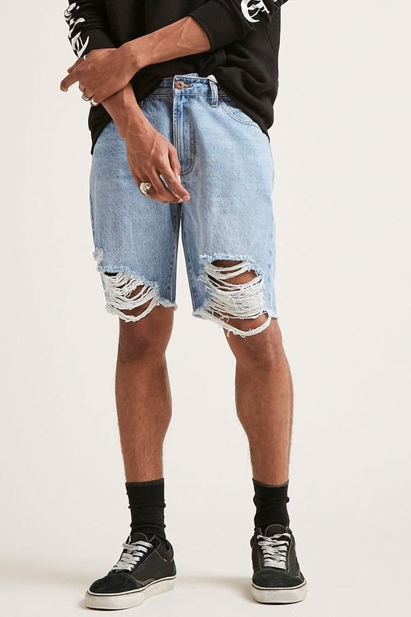 21men 21 MEN Distressed Denim Shorts
