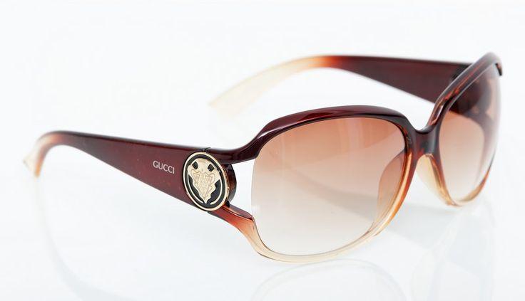 Солнечные очки Gucci в прозрачной коричневой оправе. Фирменная упаковка #19076