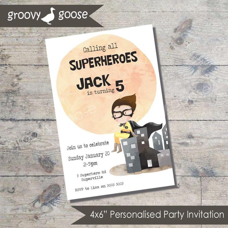 SUPER HERO Party invitation DIY Printable Superhero theme party Super hero Invitations by groovygoose on Etsy