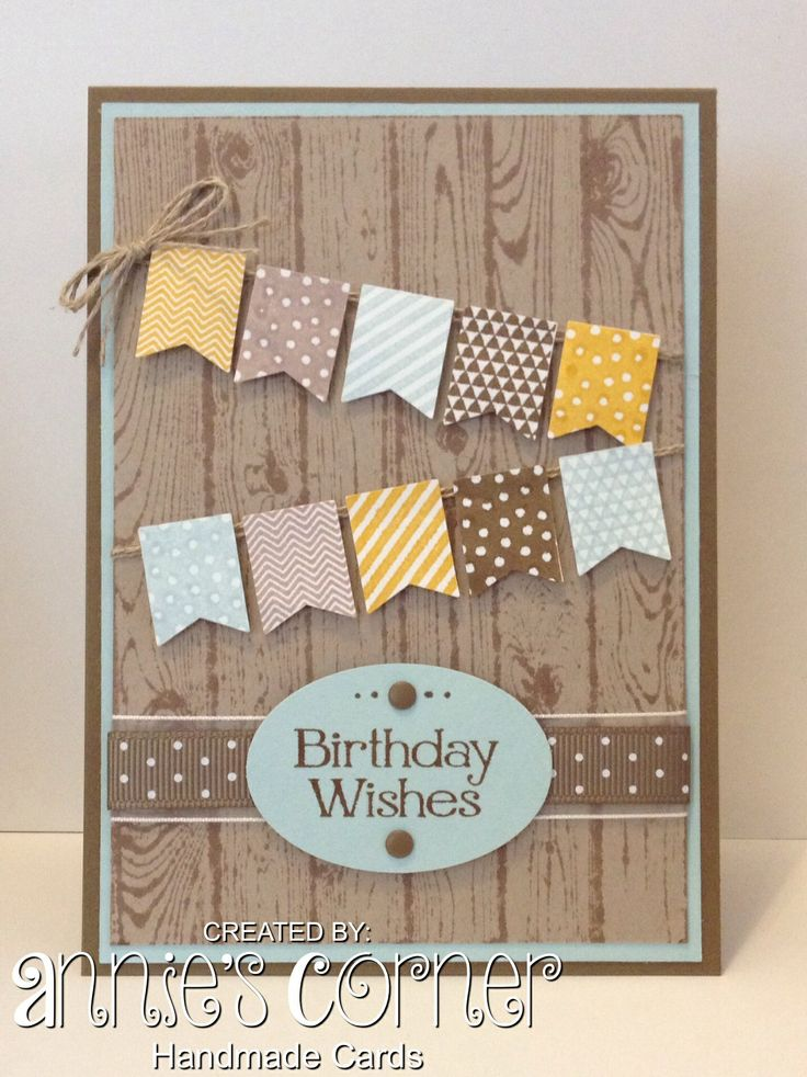 A card for my cousins birthday, using Stampin Up Hardwood & Banner Blast…