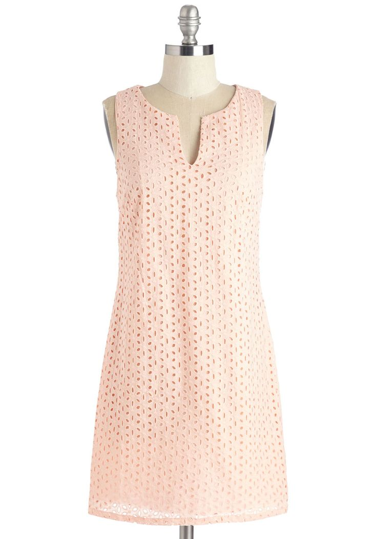 Eyelet Adventures Dress. Snag the soonest flight and touch down in paradise looking like the picture of vacation vogue in this eyeleted shift dress. #pink #modcloth