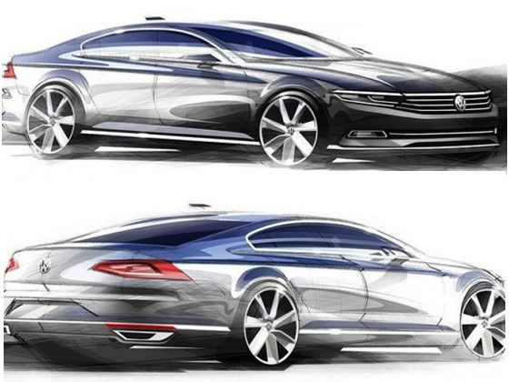 Here are the first sketches of the 2015 #Volkswagen #Passat. Needless to say we are all in for a big treat.