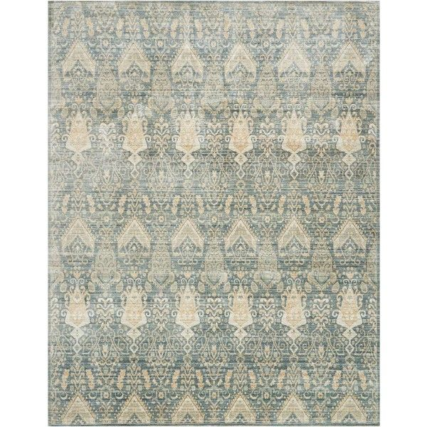 Bazaar Beige Medallion Blue Silk Rug 2'6x4 ($153) ❤ liked on Polyvore featuring home, rugs, beige area rugs, silk rugs, cream rug, ivory rug and soft white rug
