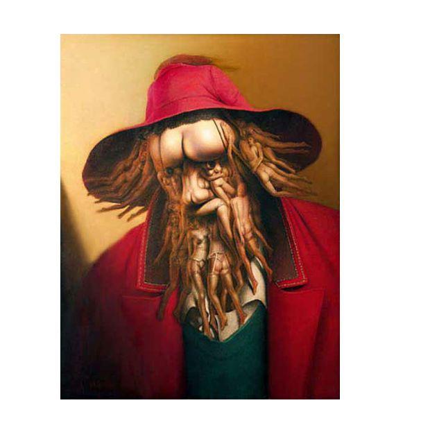Kunstenaar: Andre Martins de Barros I Stroming: Surrealisme | Dit schilderij is niet se mijn favoriet. Wel heb ik dit schilderij gekozen omdat dit surrealistisch is, en ik vind dat ik verschillende kunstwerken in de stroming surrealisme moet bestuderen aangezien ik daarmee aan de slag ga. De kunstenaar heeft lichamen gebruikt van mensen om het gezicht te maken, dat is een raar gezicht (letterlijk) Het kleurgebruik van de achtergrond en de kleding is warm. Dit geeft de schilderij een vreemd…