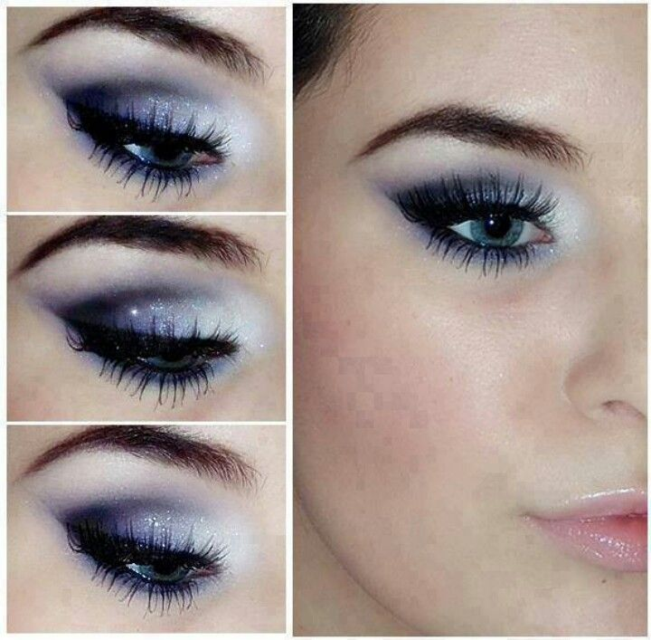 Crystal blue and smokey midnight for a dramatic look.
