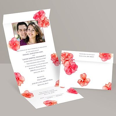 Watercolor Posies - Barn Red - Seal and Send Invitation at Invitations By Dawn