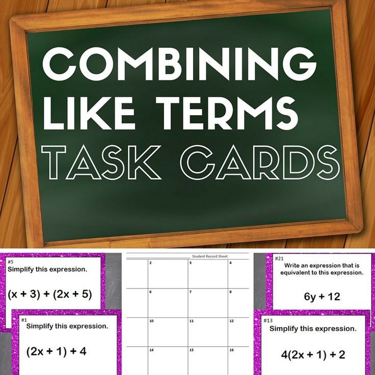 Combining Like Terms Task Cards Pin