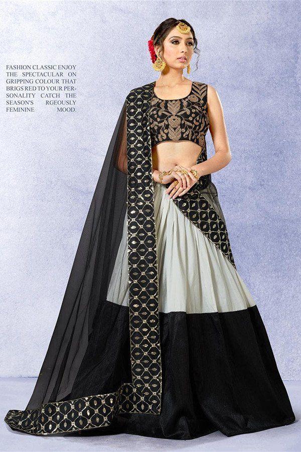 c0039ab6ac6 Black & Grey Color Banglori Silk Fabric Lehenga Choli | Indian Haute  Couture | Silk lehenga, Party wear lehenga, Lehenga choli