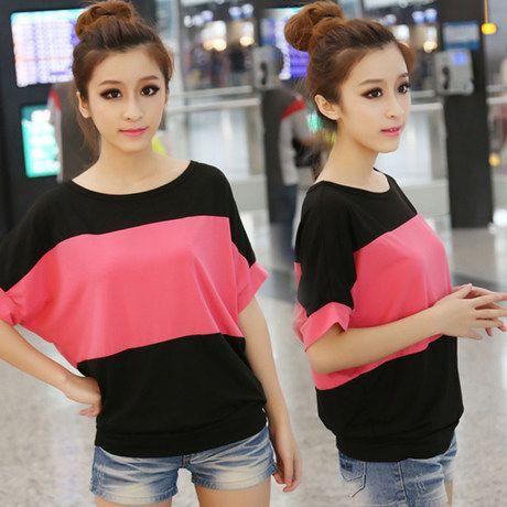 New Korean Version Summer Spell-color Tshirt Batwing sleeve Top Tees http://tinyurl.com/ngzy4ue #korean #top #summer #tshirt