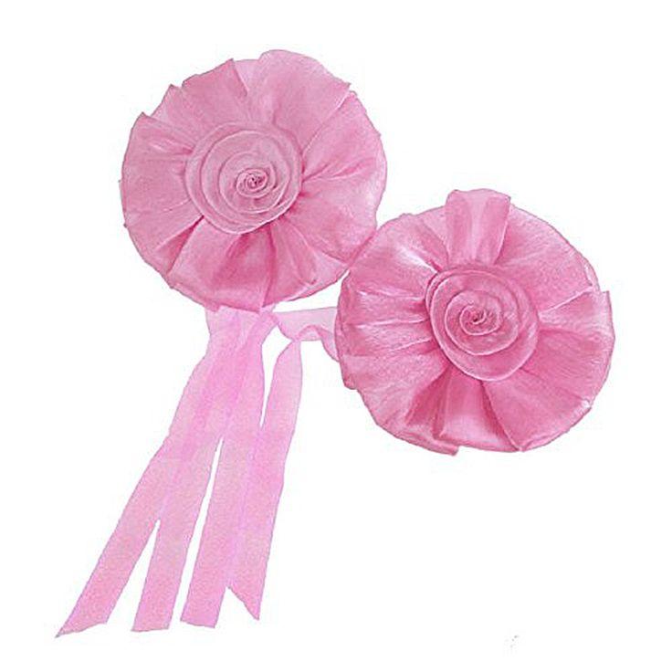 Best 1pair Rose Flower Window Curtain tieback Tie Clip Clip Buckle Decor Fastening Hook (Pink)