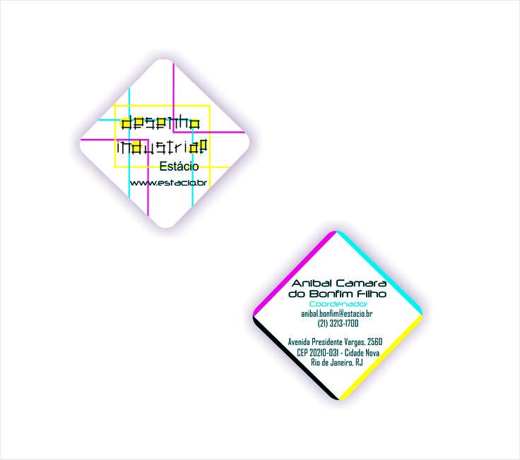Cartão de visitas com identidade visual para o curso de Desenho Industrial da UNESA