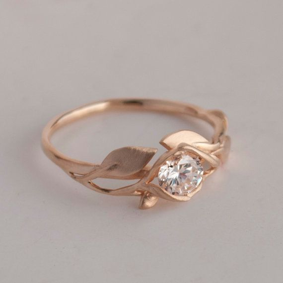 Leaves Engagement Ring No. 6 - 14K Rose Gold and Diamond engagement ring, engagement ring, leaf ring, antique, art nouveau, vintage