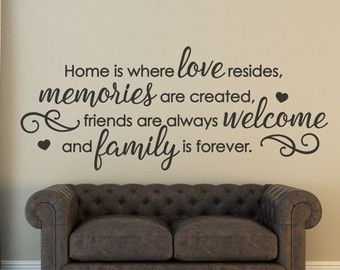 Welcome Wall Decal / Welcome Home  Welcome to our Home   Add this beautiful family wall decal to your living room, foyer, or kitchen today! Get the homey feel from this piece. Welcome all of your guests to your beautiful home! This gorgeous welcome decal applies smoothly, leaving a hand-painted look. It comes in a variety of gorgeous colors to match any decor. Not what youre looking for? Other home quotes can be found here https://www.etsy.com/shop/FourPeasinaPodVinyl?section_id=12864986…