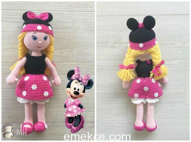 <p>Mickey Mouse ördükten sonra Minnie kızı da örmemek olmazdı. Hepinizin heyecanla beklediği tarif aşağıda, fazla oyalamayım hemen örmeye başlayalım 🙂 Baş Ten rengi iple,sihirli bir halkayla başlıyoruz. 1: 6 sık iğne bir sihirli yüzük (6) 2: Her noktada 1 arttırma (artış) (12) 3: 1 sık iğne, 1 arttırma, sonuna kadar tekrarlayın (18) 4: 2 sık […]</p>