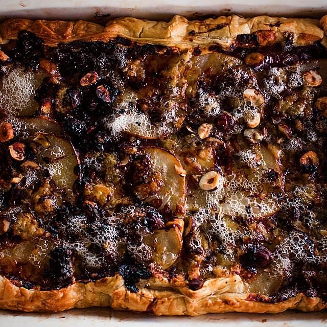 Up close and personal with a #pear, #hazelnut and #bluecheese #tart we shared over #Easter.