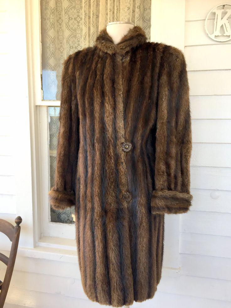Vintage Dyed Muskrat Fur Coat Size Brown Fur Big Buttons Knee Length VGC Sz M by Holliezhobbiez on Etsy