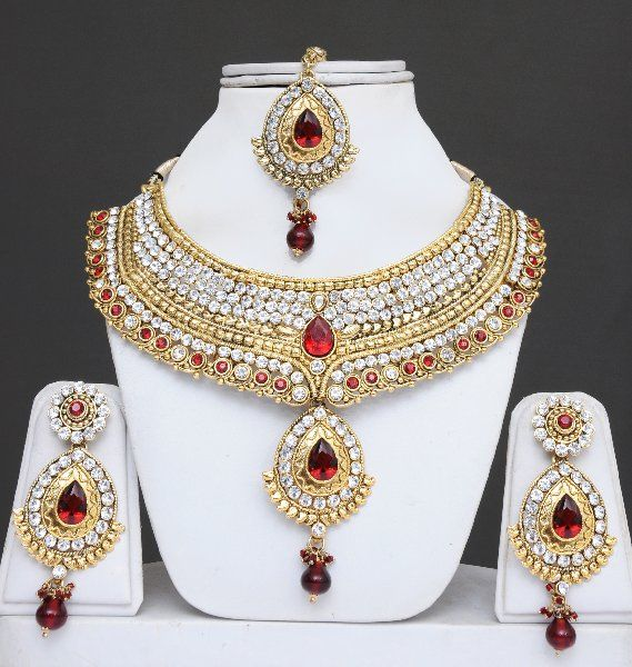Bridal Jewelry Set With Stones-Heavily Embellished - Click Image to Close