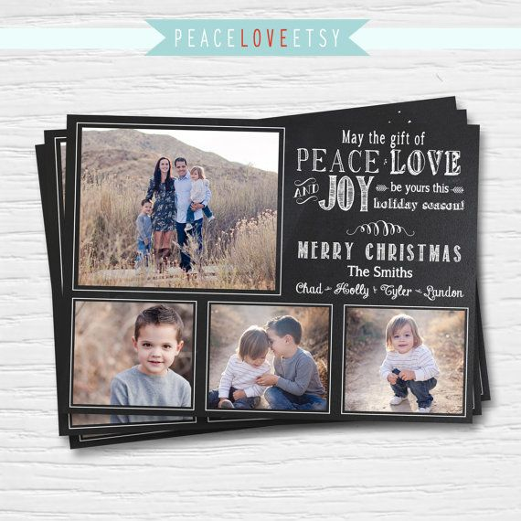 Christmas Card - 5x7 - Chalkboard - Peace Joy Love - Multi Photo Christmas Card - Holiday Card - Digital Printable File - Cardstock - Print
