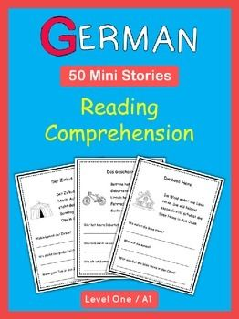 German reading comprehension. These 50 ready-to-go German Mini Stories with comprehension questions will help to build your students vocabulary skills and reading fluency in German. The goal of these worksheets is to introduce basic German vocabulary in context without the stress of mastering complex grammar structures.