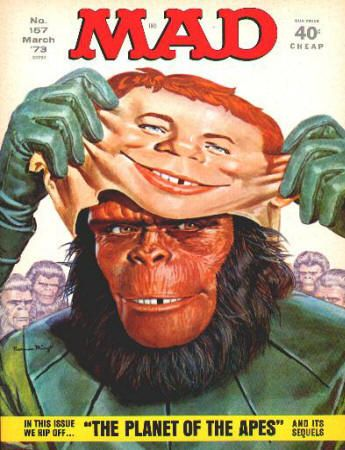 """Mad Magazine #157: March 1973, VF+, Planet of the Apes cover artwork by Norman Mingo. """"Planet of the Apes"""" parody inside, """"Oz"""" revisited, """"The Sonny & Cher (Funny & Glare) Show"""" TV parody, artwork by Dave Berg, Don Martin, Al Jaffee, and Antonio Prohias. $15"""