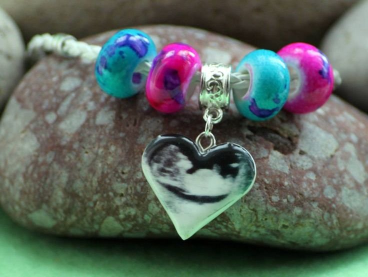 scan picture bonded onto clay for a Pandora style charm