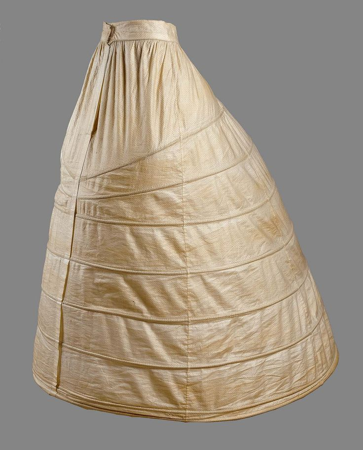 1860s - Crinoline - Steel hoop frame covered with white damask